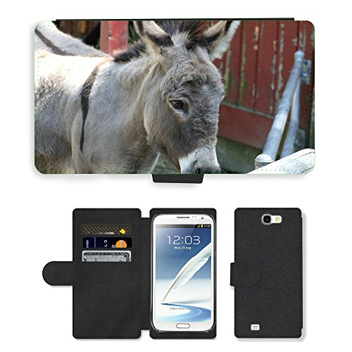 Hot Style Cell Phone Card Slot PU Leather Wallet Case // M00130832 Donkey Burro Mule Jackass Ass // Samsung Galaxy Note 2 II (Jackass Note)