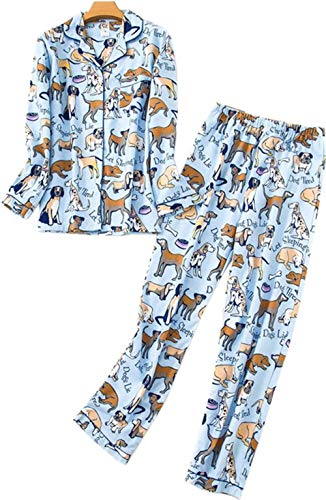 Dog Print Pajama - Comfy Pajamas for Womens Warm and Cozy 2-Piece Flannel Pj Set of Loungewear Button Front Top Pants -Long Ear Dog-L