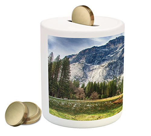 Yosemite Piggy Bank By Ambesonne  North Dome As Seen From The Valley With Wooden Walkway Yosemite National Park  Printed Ceramic Coin Bank Money Box For Cash Saving  Green Charcoal
