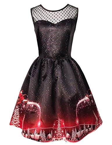 Uniarmoire Christmas Retro Sleeveless Dresses 50s Cocktail Party Swing Dress Slim Fit
