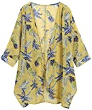 OLRAIN Women's Floral Print Sheer Chiffon Loose Kimono Cardigan Capes (Large, Yellow Pineapple)