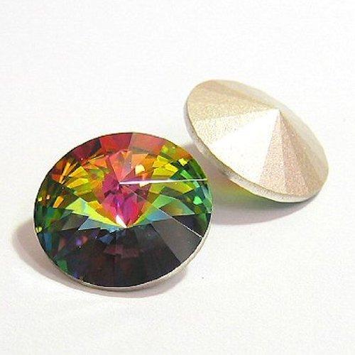 (2 pcs Swarovski 1122 Crystal Round Rivoli Stone Silver Foiled Vitrail Medium 14mm / Findings / Crystallized Element )