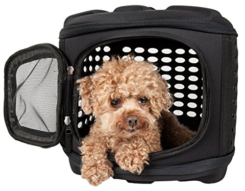 (PET LIFE 'Circular Shelled' Perforated Lightweight Collapsible Military Grade Travel Pet Dog Carrier, One Size, Charcoal Black)