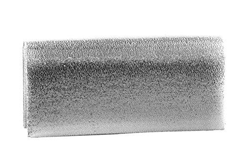 Borsetta donna GIANMARCO VENTURI argento pochette con fiocco e strass N533