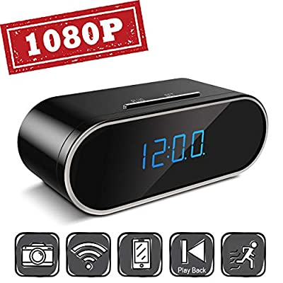 Aurola WiFi 1080P Hidden Camera Clock, Spy Camera, Nanny Camera with with Motion Detection Loop Recording for Home and Office Security Surveillance (Black) from Aurola