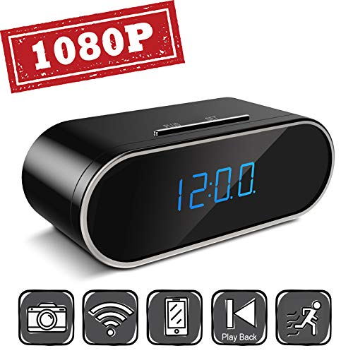 WiFi Hidden Camera 1080P Spy Camera, Hidden Camera Clock WiFi Spy Camera Clock, Nanny Camera Motion Detection Loop Recording Home Office Security Surveillance