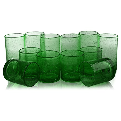 (Artland Iris Green Seeded 12 Piece Double Old Fashioned Glass and Highball Tumbler Set )