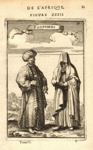 EGYPT COSTUME. Egyptian man & woman in 17C dress. 'Egyptiens'. MALLET - 1683 - old print - antique print - vintage print - printed prints of Egypt]()