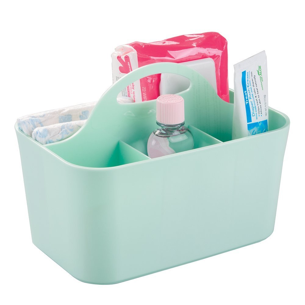 mDesign 4 Compartment Nursery Basket with Handles & Drain Holes - Baby Storage Baskets for Toys, Bath Essentials, Shampoos, Bottles - Nursery Storage Ideas - Nursery Bin - Mint MetroDecor 0821MDB