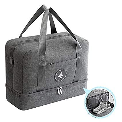 4e99f4fdb3d5 Waterproof Dry Wet Separated Outdoor Multifunctional Grey Blue Black Gym  and Swim Equipment Bag for Family- Water Resistance Space Save Travel Bag- Oxford ...