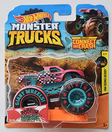 Hot Wheels Monster Truck 1:64 Scale, Pink Podium Crasher 10/50 Connect and Crash Car -