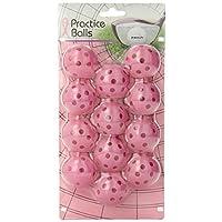 Bolas de práctica de golf Intech con agujeros, paquete de 12 (rosa)