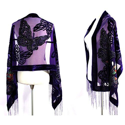 Velvet Beaded Scarf (Elegant Handmade Beaded Butterfly Silk Velvet Oblong Scarf Shawl)
