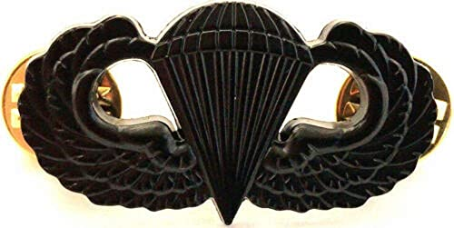 US ARMY AIRBORNE JUMP WING BLACK SUBDUED HAT PIN