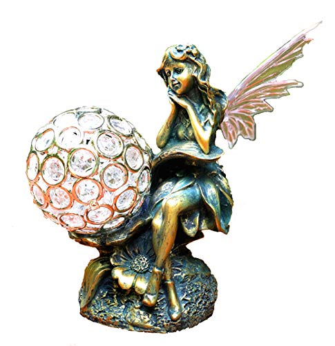 Bo-Toys Solar Powered Fairy Angel with Wings and Solar Glowing Globe LED Garden Light Decor Color Change