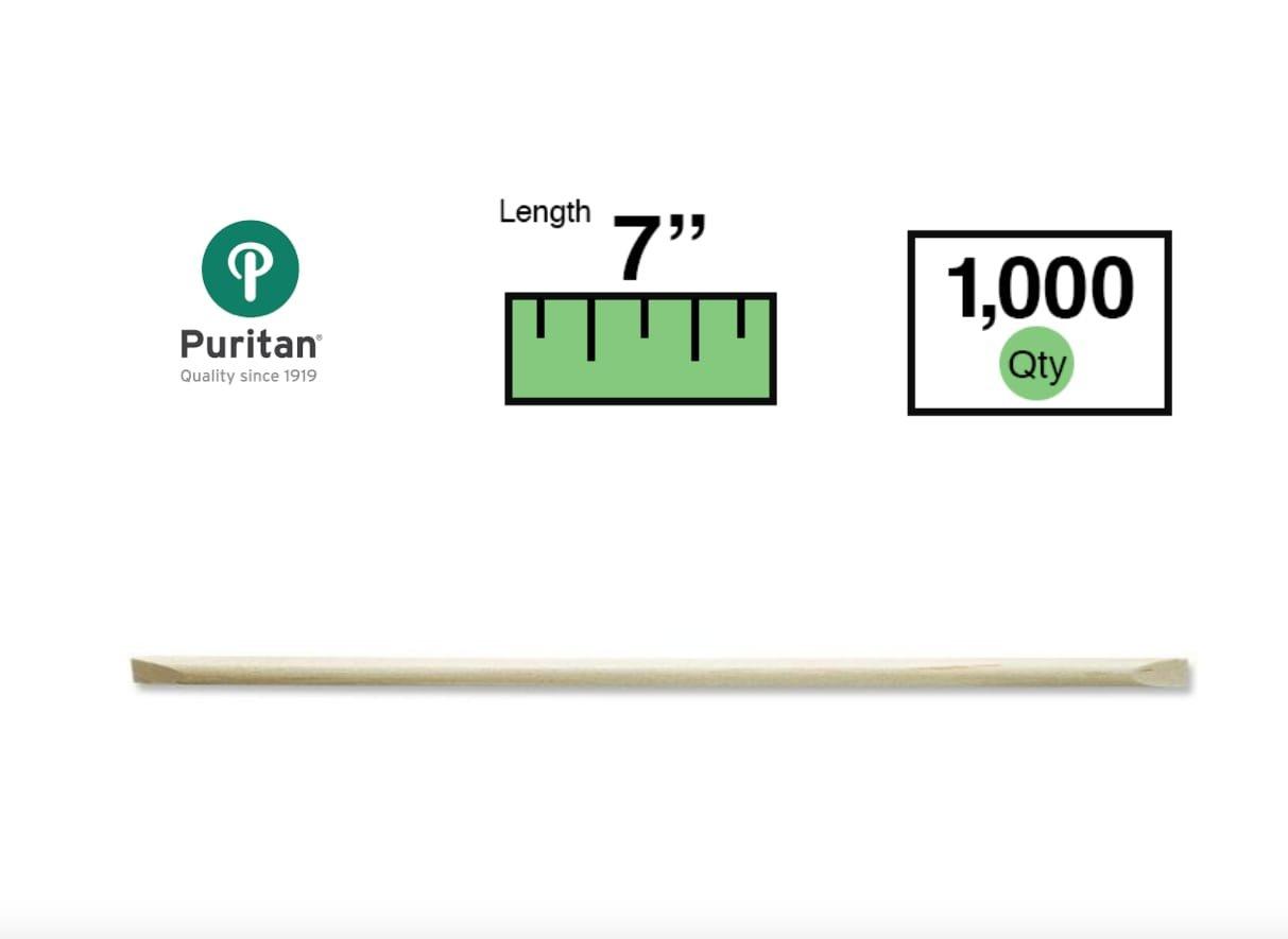 Puritan 7'' x 0.156'' Wood Cuticle/Orange Sticks Double Beveled Ends - 2910 - Case of 1000