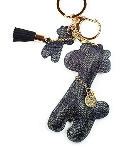 (PU Leather Giraffe Keychain Check Canvas Patten Textile Tassel Handbag Key Charm Ring Pendant Chain ... (Grey Giraffe))