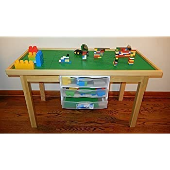 LEGO NATURAL PLAY TABLE WITH 3 STORAGE DRAWERS SOLID POPLAR WOOD LEGS U0026  FRAME   REMOVABLE