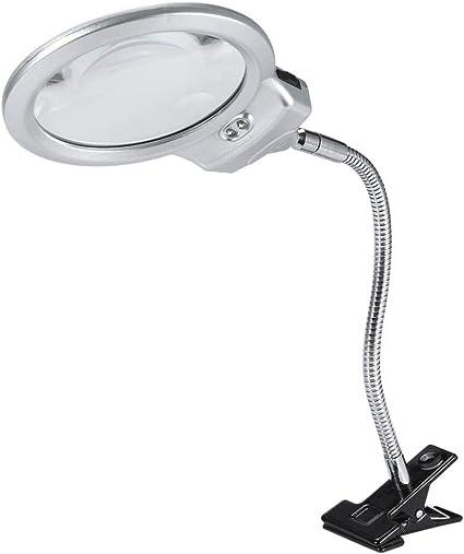 Clip Lupa Lamp, lámpara de mesa de lente grande, lupa con lupa con ...