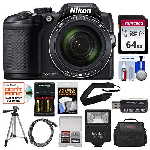 Nikon Coolpix B500 Wi-Fi Digital Camera (Black) with 64GB Card + Case + Flash + Batteries & Charger + Tripod + Strap + Kit (Nikon Tripods Cameras Digital For)