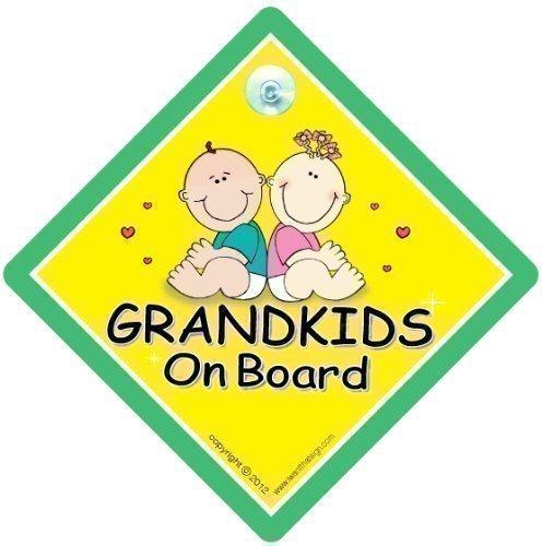 Grandkids On Board, Cute Green, Grandkids On Board Sign, Grandchildren On Board Sign, Baby on Board Sign, Maternity Gift, baby on board iwantthatsign.com GKOBGNEWD