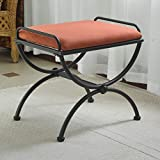 International Caravan 74416-OG-165265-O-852761 Iron Vanity Stool with Microsuede Cushion, Terra Cotta