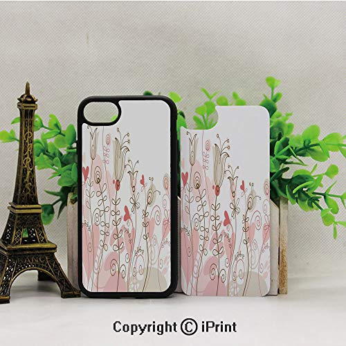 - iPhone 8 Case,iPhone 7 Case,Wedding-Themed-Floral-Illustration-with-Cute-Little-Hearts-Blooming-Abstract-Art,Lining Hard Shell Shockproof Full-Body Protective Case Cover