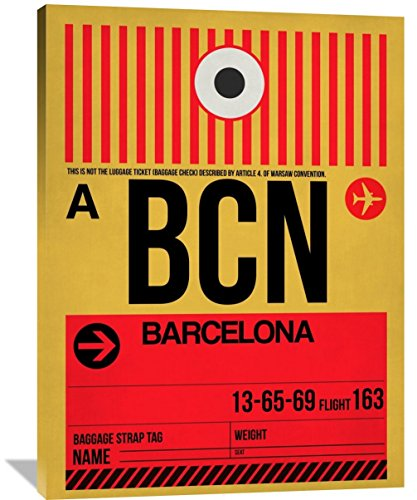 "Naxart Studio ""Bcn Barcelona Luggage Tag 1"" Giclee on Canvas, 36"" by 1.5"" by 48"" from Naxart Studio"