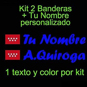 Vinilin - Pegatina Vinilo Bandera Madrid + tu Nombre - Bici, Casco, Pala De Padel, Monopatin, Coche, etc. Kit de Dos Vinilos (Azul Oscuro): Amazon.es: Deportes y aire libre
