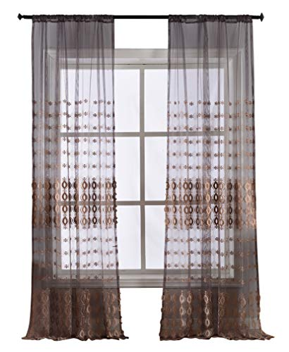 Smibra European Style Sheer Curtain Elegance Round Floral Embroidered Window Drapery Rod Pocket Drape Treatment for Living Room,Lounge(1 Panel,W50 x L100inch, Purple)-1280698SC1ZBVT950100-8509