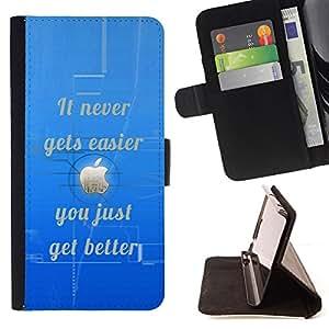 - BLUE NEVER BETTER INSPIRATIONAL EASIER - - Prima caja de la PU billetera de cuero con ranuras para tarjetas, efectivo desmontable correa para l Funny HouseFOR Samsung Galaxy Note 4 IV