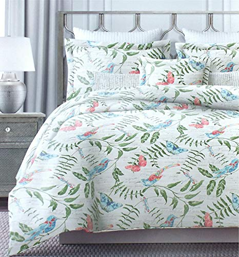Tahari Home Vintage Botanical Wild Flower Print Duvet Quilt Cover 100-percent Cotton Bedding Set Colorful Floral Branches Drawing of Summer Blossoms (Coral, (Butterfly Garden Standard Sham)