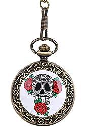 WZC Bronze Quartz Movement Skull and Rose Pocket Watch