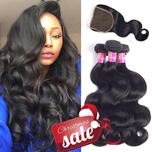 Human Hair Remy (Originea Brazilian Body Wave Bundles With Closure Virgin Hair 3 Bundles 100% Unprocessed Remy Human Hair Weave Weft Extensions Natural Color 300g(12''14''16''+10''closure))