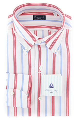Finamore New Napoli Red Striped Slim Shirt (Red Napoli Shirt)