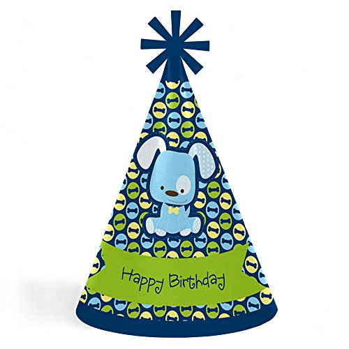 Boy Puppy Dog - Cone Happy Birthday Party Hats for Kids and Adults - Set of 8 (Standard Size)