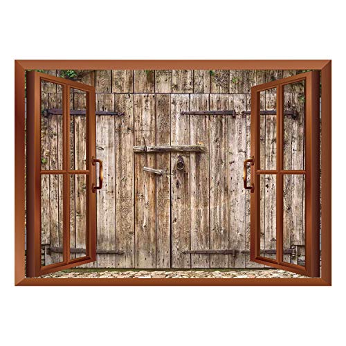SCOCICI Wall Mural, Window Frame Mural/Rustic,Old Oak Closed Garage Door with Steel Hinges Vintage Typical Cottage Doorway Image,Tortilla/Wall Sticker Mural