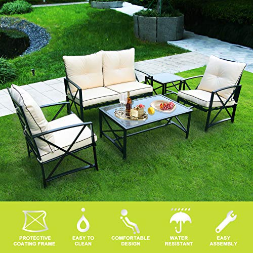 ENSTVER 5-Piece Cushioned Patio Furniture Conversation Set with Loveseat,2 Chairs,Coffee Table and Tea Table