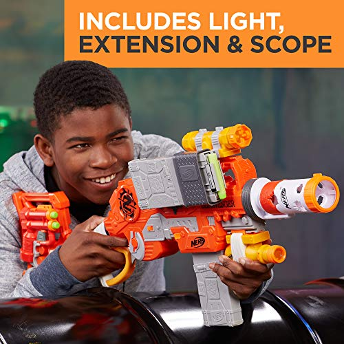 516BnX1DGzL - Scravenger Nerf Zombie Strike Toy Blaster with Two 12-Dart Clips, 26 Darts, Light, Barrel Extension, X 40Mm, Stock, 2-Dart Blaster - For Kids, Teens, Adults