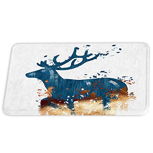 Deer Theme Coral Velvet Bath Rugs Funny Animal Small Floral Wallpaper Non Slip Shower Mat for Bathroom Decor Sets Door Rug with Rubber Backing Absorbent Kitchen Floor Carpet 17 x 24 inches (Curtains Online Buy Velvet)