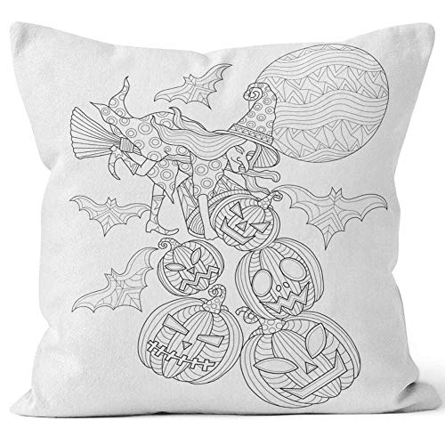 Nine City Hand Drawn The Halloween cat Pumpkin Head for Adult Coloring Page Home Decorative Throw Pillow Cover,HD Printing Square Pillow case,16