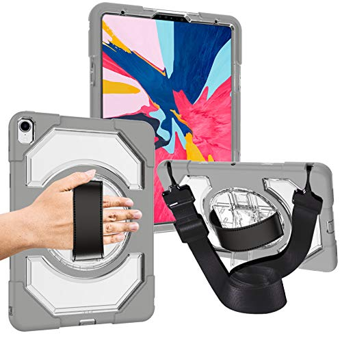 "iPad Pro 11 Protective Case with Hand Strap, Heavy Duty Armor Shockproof Case with 360 Degree Rotation Stand, Adjustable Hand Strap Shoulder Strap for iPad Pro 11 inch 2018 for iPad 11"" (Stand Rotation Degree 360)"