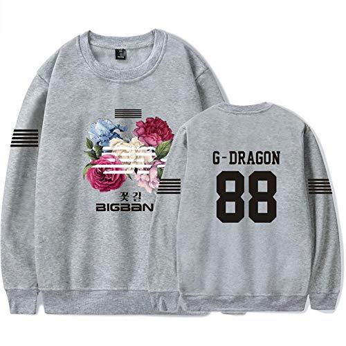 Grey05 Floral Bigbang Et Unisexe Décontractée Imprimés Fashion Sweat Col Pour Loose Rond shirts Hommes Manche Pullover Femmes Longue 4nATFA