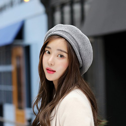 Syksdy Autumn and Winter Lady Sweet Cute Knitted Hat Beret Wool Hat Light Grey