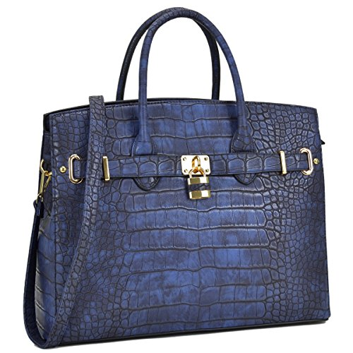 MKP Collection Croco Embossed Satchel. Fashion shoulder handbag.Purse for Holiday gift. Top handle handbag. Beautiful tote for all season. Designer handbag for woman (021006) Royal Blue ()