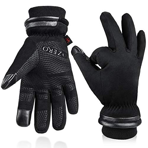 OZERO Winter Thermal Gloves for Men Waterproof and Touch Screen Fingers Insulated Cotton Warm in Cold Weather Black Medium