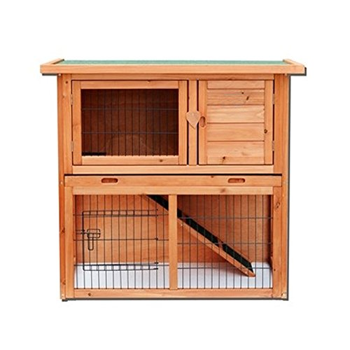 "Yoshioe 36"" 2 Tiers Rabbit Bunny Dog Wooden Pet Hutch House with Waterproof Spacious Inner Room Lockable Doors for Small Animals, Durable Chicken Coops Chicken Cages Rabbit Cage"