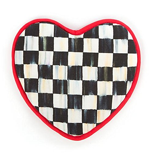 MacKenzie-Childs Hot Pot Holder Pads – Cotton Kitchen Pot Holder - Courtly Check Black and White Heart Oven Pads (Mackenzie Pie)