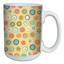 Tree-Free Greetings 79245 Dots and Daisies by Debbie Mumm Ceramic Mug with Full-Sized Handle, 15-Ounce