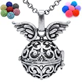 Ancient Silver Flower Angel Wing Locket Necklace for Aromatherapy Essential Oil Fragrance Diffuser (Bell With Diamond)